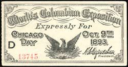 World's Columbian Exposition Ticket